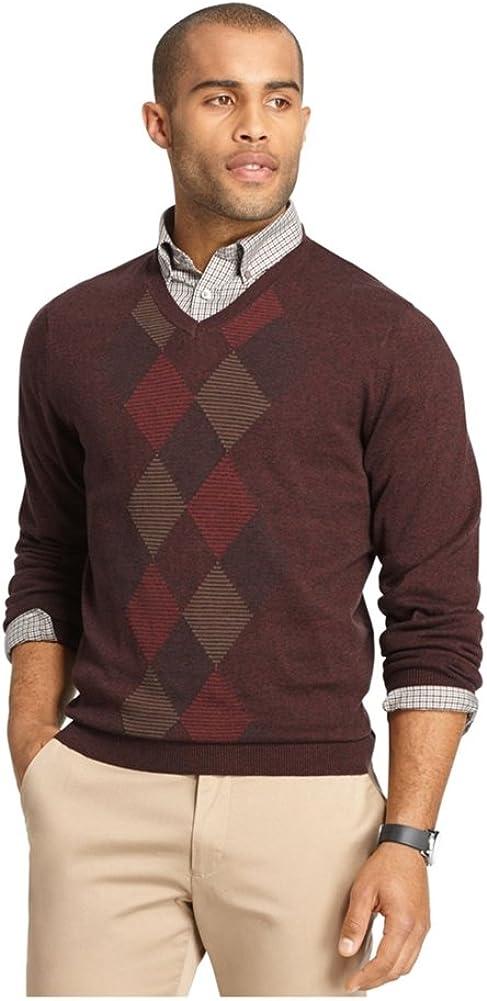 Van Heusen Mens Feeder-Stripe Diamond V Neck Pullover Sweater, Red, XLT