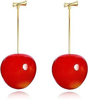 cherry pom pom earrings