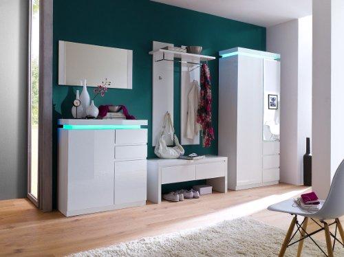 Robas Lund, Garderoben, Garderobenset, Ocean Garderoben Set, Hochglanz/weiß, inklusive Fernbedienung für LED Beleuchtung , 52720WW8