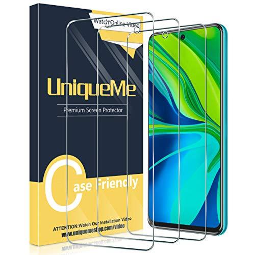 UniqueMe [3 Pack] Protector de Pantalla para Xiaomi Redmi Note 9S / Note 9 Pro/Note 9 Pro MAX, Vidrio Templado [9H Dureza] HD Film Cristal Templado