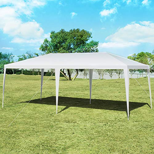 Tangkula 10' x 20' Canopy Tent, Waterproof Wedding Canopy with Wind Rope, Outdoor Shelter Pavilion for Parties Commercial Activity Camping, Heavy Duty Gazebo for Family Friends with Tent Peg (White)