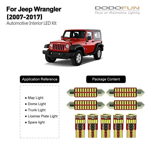 DODOFUN Deluxe Interior LED Lighting Kit for 2007-2017 Jeep Wrangler (9-pc Bulb 6000k)