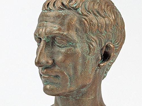 Busto Romano Julius Caesar Bronce pátina–Réplica fabricado en yeso de alabastro–Foro Traiani–Busto con base de mármol negro y grabado placa de bronce