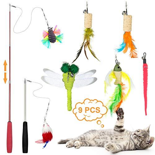 ZWOOS Katzen Federspielzeug, 9 Stück Katzen Spielzeug Einziehbare Katze Teaser Zauberstab Spielzeug Set mit 2 Stangen und 7 Nachfüllfedern Katzenspielzeug für Katzen Kitty