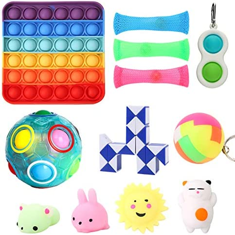 Simple Dimple Fidget Toys Set, Pack of Fidget Toys 12pcs Stress Relief Toys for Adults Fidgets for Kids Autism Gift for Birthday Party, Valentines Day Easter Basket Pinata Christmas Stocking