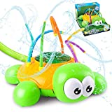 momok Water Sprinkler Toys for Kids and Toddlers Outdoor, Water Spray Spinning Toys for Backyard in Summer, Turtle Sprinkler with Wiggle Tubes Sprays Up to 8ft. High Attaches to Garden Hose