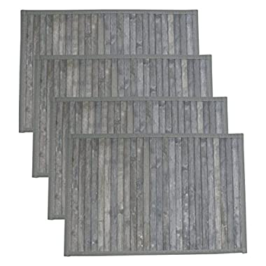 HOTEL 08408 Bamboo 4 Pack Placemat Set,Grey,12x18