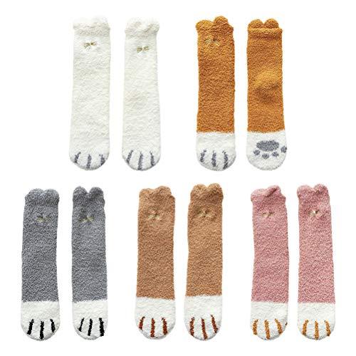 Allsmart Winter-Katzenpfoten-Strumpf für Frauen, weich, atmungsaktiv, Plüsch, Matrosen-Socken, Korallen-Fleece-Hausschuh-Socken, flauschig, warme Socken (5 Paar)