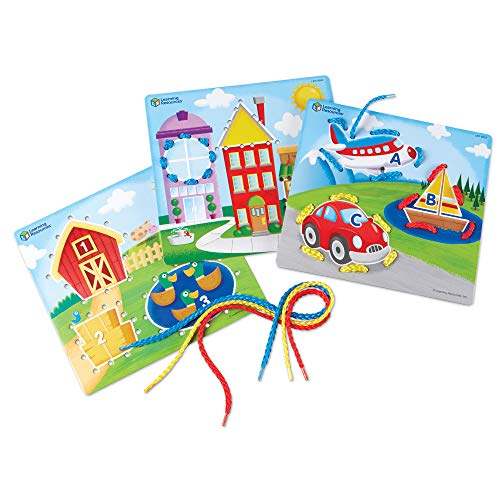 Learning Resources Learning Laces, Letter, Shape & Number Recognition, Fine Motor Skills, Toddler Readiness, Ages 3+