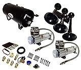 Viking Horns V103C2X-6-12/311-1B Super Loud 170 Decibels Black Train Air Horn Kit, with Dual 200 PSI Air Compressors