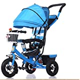 kiter Sillas de Paseo Cochecito de bebé Moda con sombrilla Cochecito de bebé Plegable para niños Triciclo 1-3-5 años Pedal Infantil Bicicleta Trike Bicicleta (Color : A)