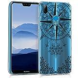kwmobile Carcasa Compatible con Huawei P20 Lite - Funda Silicona TPU Rosa los Vientos Negro/Transparente