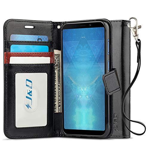 JundD Kompatibel für Galaxy A9 2018 Leder Hülle, [Handytasche mit Standfuß] [Slim Fit] Robust Stoßfest PU Leder Flip Handyhülle Tasche Hülle für Samsung Galaxy A9 (Release in 2018) Hülle - Schwarz