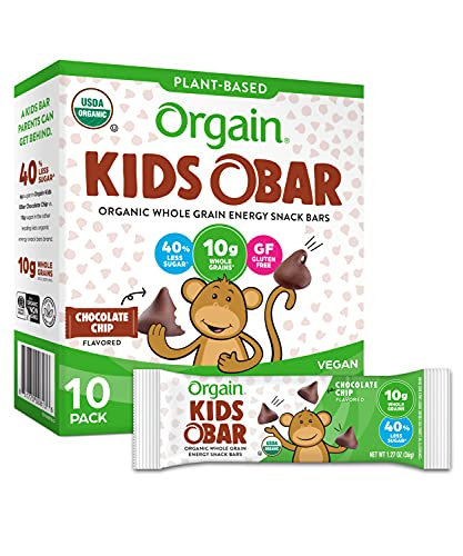 Orgain Organic Kids Energy Bar, Chocolate Chip - Great for Snacks,...