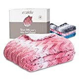 """Cozidu Luxurious Plush Reversible Baby Blanket for Girls, Ultra Soft Warm and Cozy Faux Fur, Infant or Newborn Receiving Blanket (Pink + White, 30""""x35)"""