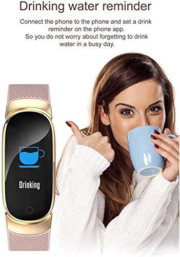 Reloj Inteligente 0 96 Pulgadas Pantalla Fitness Tracker Deportes Podómetro Pulsera Mensaje Push Recordatorio Inteligente IP67 Impermeable 90mAh-Negro-Rosa
