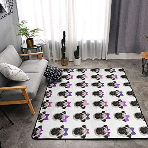Alfombra de área lavable, diseño de perro bonito para decorar tus habitaciones, cubierta de piso antideslizante, con respaldo de goma para guardería, pasillo de 182,88 x 122,92 cm