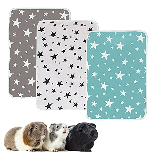 TBoxBo 3 Pieces Guinea Pig Cage Liners Washable and Reusable Guinea Pig Pee Pads Reusable& Anti Slip Guinea Pig Bedding Super Absorbent Pee Pad for Small AnimalsTraining Pads for Small Animals