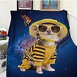Bedsure Manta franela100x130cm Mariposa canichemanta cama100% Microfibra Extra Suave Cálido Mantas Colcha Sofa Adecuada para Niños y Adultos -S