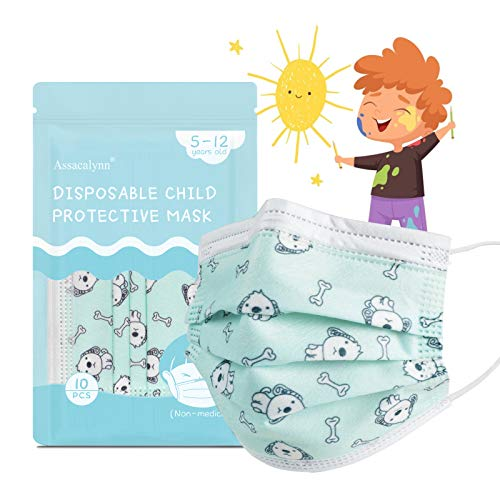 Assacalynn Disposable Kids Face Mask 50 Pcs, Kids Masks for Boys Breathable Kids Masks with Cute Puppy Pattern