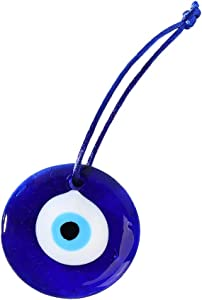 ASZX 1PC Glass Turkish Evil Eye Amulet,Blue Lucky Car Pendant as Home Office Interior Auto Wall Decor Lampwork Charm Accessories Gifts(2.5x2.5cm)