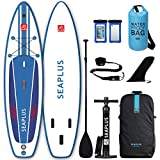 "SEAPLUS Tabla de Paddle Surf Hinchable Tabla Stand Up Paddle Board Rígida con Accesorios de Remo de Aluminio/Inflador/Leash/Mochila, Carga hasta 130 Kg, L-BN 10'8""*32""*6"""