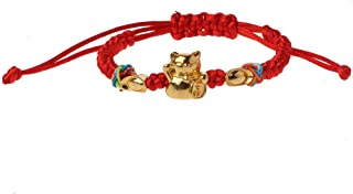 Lucky Cat Red String Bracelet Golden Fortune Cat Bracelets Adjustable Fashion Jewelry For Good Luck Fortune Health