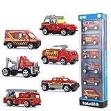 TJCJIEM Metálico Coches, 6 Packs Mini Die Cast Car Set de Coches de Juguete, Coche de Policía/Ambulancia/Camión de Bomberos Juguetes Vehículos para Niñas Niños de 3 a 12 Años (A)