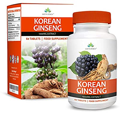 Korean Ginseng - 1000mg Ginseng Extract - Maximum Strength Supplement for Men & Women - Suitable for Vegetarians - 60 Tablets (2 Months Supply) by Earths Design