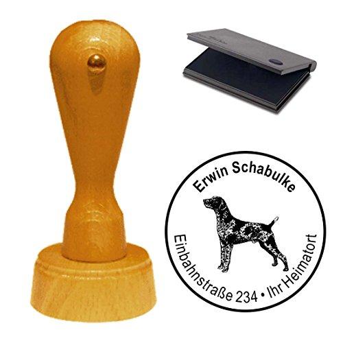 Adressenstempel met kussen, Duitse korte haren, afdrukgrootte ca. Ø 40 mm - met persoonlijk adres en motief - hond hondenmok Shorthaired Pointer