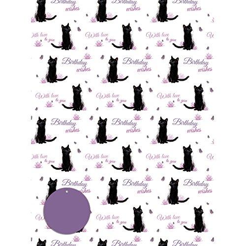 Black Cat - Schwarze Katze - Geschenkpapier mit Anhänger
