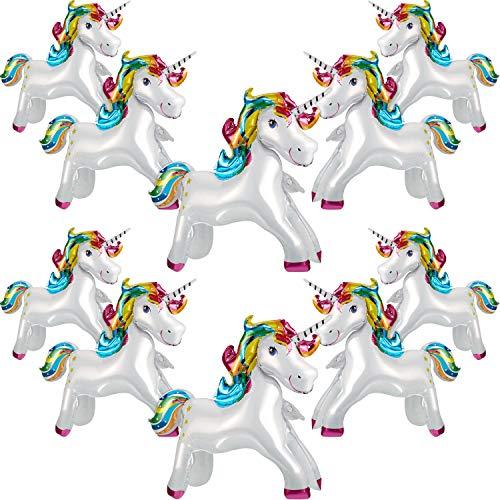 10 Pieces Unicorn Balloons Rainbow Unicorn Foil Balloons Unicorn Horse Balloons Unicorn Birthday Party Decoration Supplies for Unicorn Theme Party Baby Shower