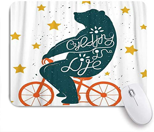Minalo Gaming Mouse Pad Non-Slip Rubber Base,Bicycle Silhouette of A Biking Giant Bear with Distressed Effects and Stars Print,for Computer Laptop Office Desk,9.5 x 7.9in