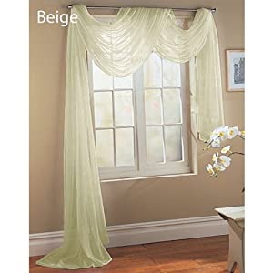 Luxury Discounts Beautiful Elegant Solid Sheer Scarf Valance Topper Long Window Treatment Scarves