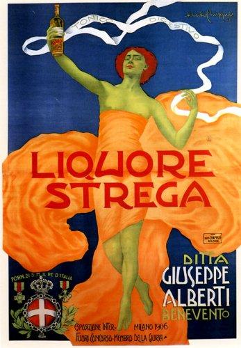 """Fashion Lady Girl Liquor Strega 1906 Giuseppe Alberti Milano Milan Italy Italia 20"""" X 30"""" Image Size Vintage Poster Reproduction"""