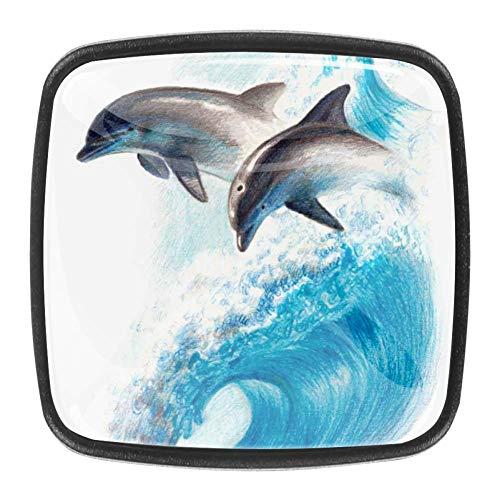 Tocador de cristal, cajón antiguo, perillas para gabinete, 4 piezas, perillas, tiradores para cocina, armario, armario, gabinete de baño, dos delfines en una ola