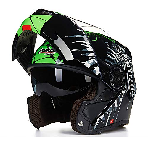 MX Motocross Casco Dirt Bike Casco de la Motocicleta Casco Modular de Cara Completa para Adultos D.O.T Certified Fly Racing Tourist Open Face Racing Helmet,1,XXL