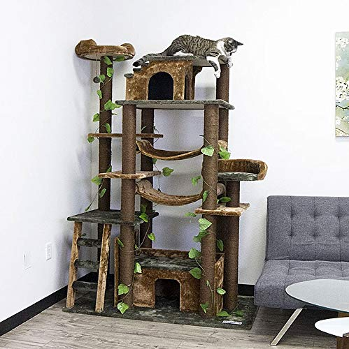 CozyCatFurniture Extra Large Cat Tower Tree Cats Activity Center, Green/Brown
