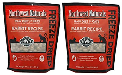 Northwest Naturals 2 Pack of Freeze-Dried Rabbit Raw Food for Cats, 11 Ounces Each