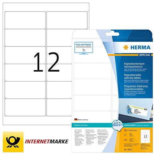 HERMA Zelfklevende verwijderbare adresetiketten, 21 etiketten per A4-plaat, 525 etiketten voor printers, 63.5 x 38.1 mm (5074) 25 Vellen 99.1 x 42.3 mm Kleur: wit