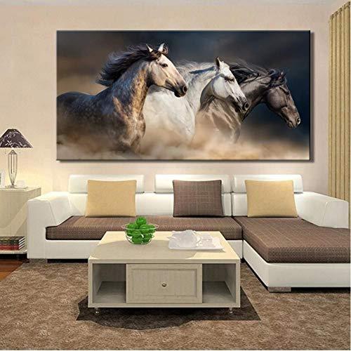 TBWPTS Canvas Schilderij 70X140Cm-moderne dieren posters prints muur canvas schilderij wanddecoratie drie robuuste paarden foto's woonkamer