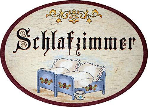 Kaltner Präsente Geschenkidee - Holz Geschenkartikel Deko Türschild im Antik Design Dekoartikel Motiv Schlafzimmer (Ø 18 cm)