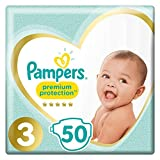 Pampers Premium Protection – Pañales talla 3 (6 – 10 kg/medio) 50 pañales