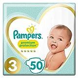 Pampers Couches, Taille 3 (FR 5-9kg / DE 6-10kg)- Le paquet de 50