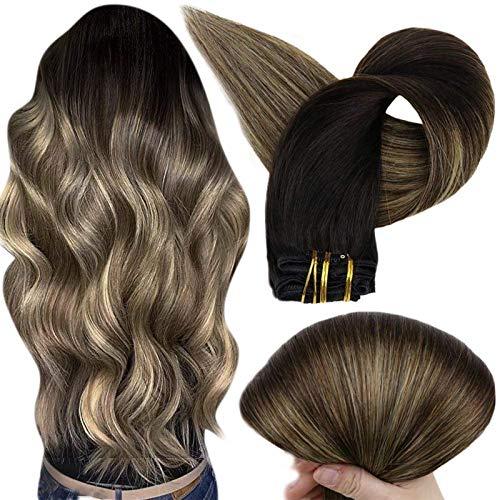 Full Shine Clip Hair Extension Natural Pelo Lacio Extensiones De Cabello Humano Con Clip Color Negro Balayage Color 1B Fuera Negro Transición a 6 Marrón Medio 27 Miel Rubia Moda Hair Color 20 Pulgadas