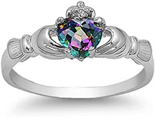Princess Kylie Sterling Silver Triquetra Claddagh Ring Sizes 4-12