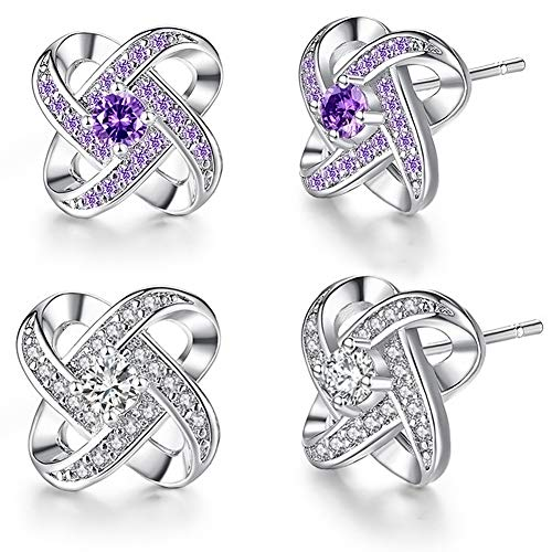 2 Pairs Women Cubic Zirconia Lucky Grass Earrings, Shiny Texture White Gold Fashion Look Allergy Perfect Party Anniversaries Fine Jewelry Gift Purple
