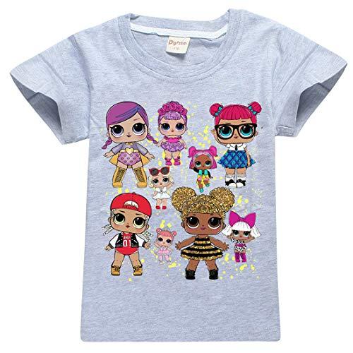 Mädchen T-Shirt Mit LOL Dolls Rocker, BFF Fancy & Fresh, Diva, Swag, Leading Baby Kinder Baumwoll Top (8377grey, 150(9-10Jahre))