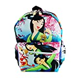"Disney Princess Mulan Deluxe Oversize Print Large 16"" Backpack with Laptop Compartment - A19733"