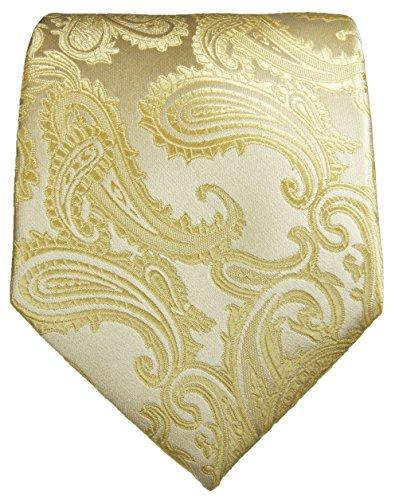 Cravate créme paisley ensemble de cravate 3 Pièces (100% Soie Cravate + Mouchoir + Boutons de manchette)